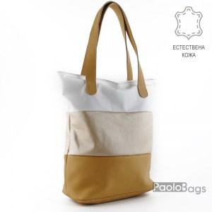 Дамска чанта от естествена кожа с неповтарящи се комбинации от цветове с удобни дълги дръжки подходяща за формат А4