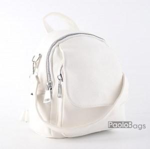 Дамска раница кожена 2в1 с удобна дръжка за носене в ръка и на рамо с ефектни дебели ципове бяла