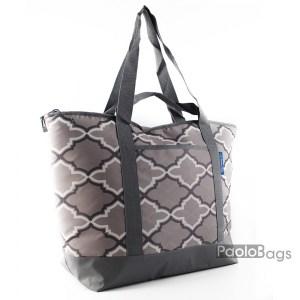Голяма плажна чанта модел 26432 сиво и тюркоаз