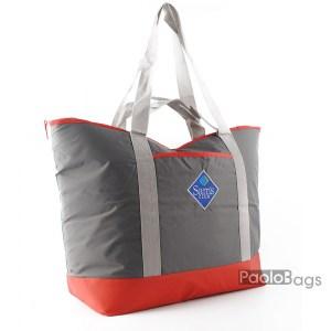 Голяма плажна чанта модел 26434 червено и сиво