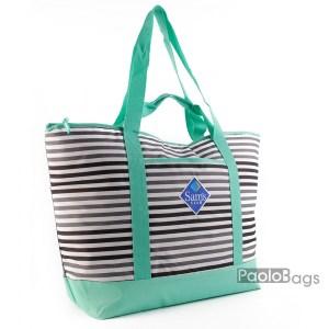 Голяма плажна чанта модел 26435 с тюркоаз