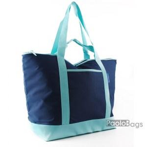 Голяма плажна чанта модел 26440 синя и търкоазена