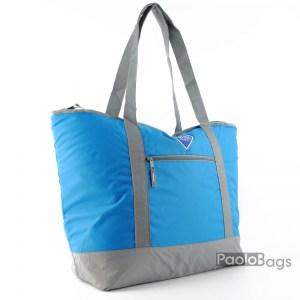 Голяма плажна чанта модел 26442 синьо и сиво