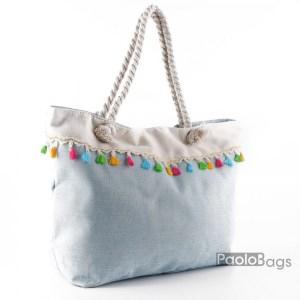 Голяма плажна чанта модел 26456 синя