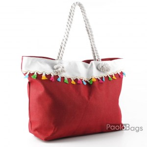 Голяма плажна чанта модел 26455 червена