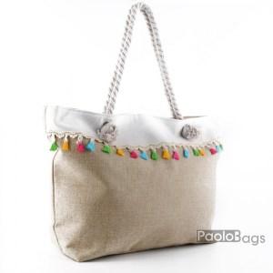 Голяма плажна чанта модел 26454 бежова