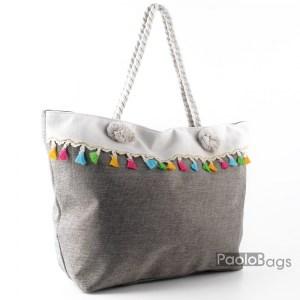Голяма плажна чанта модел 26452 сива