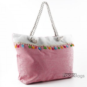Голяма плажна чанта модел 26453 розова