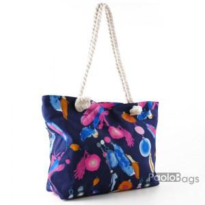 Голяма плажна чанта модел 26446 шарена цветна