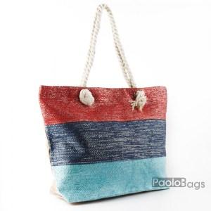 Голяма плажна чанта модел 26448 на райета цветна шарена