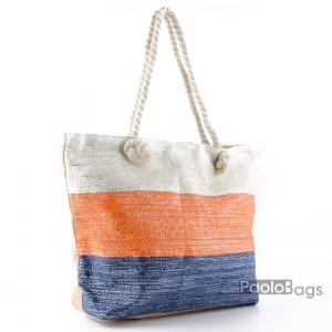 Голяма плажна чанта модел 26449 на райета цветна шарена