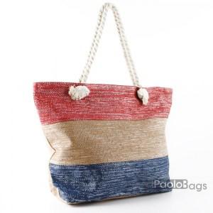 Голяма плажна чанта модел 26450 на райета цветна шарена