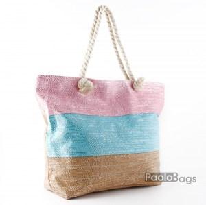 Голяма плажна чанта модел 26451 на райета цветна шарена