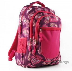 Ученическа раница евтина с джобове 26470 розова