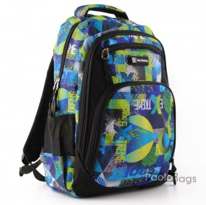 Ученическа раница евтина с джобове 26470 синъо зелена