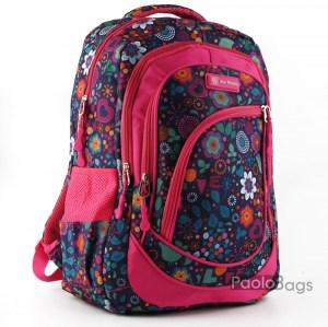 Ученическа раница евтина с джобове 26474 тъмно розово