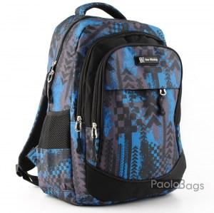 Ученическа раница евтина с джобове 26476 синя