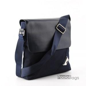 Мъжка чанта от плат синя за през рамо 23511