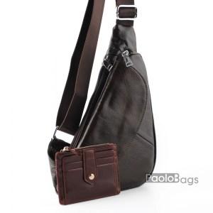 Луксозна мъжка чанта през гърди кафява