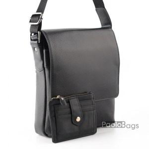 Луксозна мъжка чанта с три четвърти капак