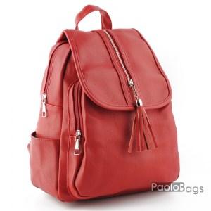 Червена дамска раница кожена с пискюлчета евтина модел номер 20431
