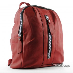 Червена дамска кожена раница  20518